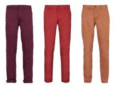 pantalones chicos colores topman hombre burdeos granate rojo naranja camel