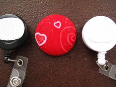 Hearts on Red Fabric Covered Button for Clip by tallulahssatchels (Accessories, Lanyard, badge reel, retractable, badge strap, clip on, lanyard, fabric button, tag holder, id badge reel, name tag, id, velcro button, Valentine's Day, heart fabric button)