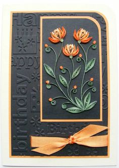 handmade Birthday Card from Quilled Creations ... black background with peaches and green ... birthday words embossing folder background .. quilled flowers on main panel ...