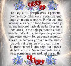SUEÑOS DE AMOR Y MAGIA: Te elegí a ti,porque eres la persona que me hace f...