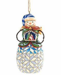 Jim Shore Christmas Ornament, Snowman Holding Nativity