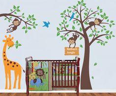 Children Jungle Room Decal, Safari Theme Decal, Monkey And Tree Wall Decal,  Monkey Tree Decal For Baby Nursery, Kids, Childrenu0027s Room