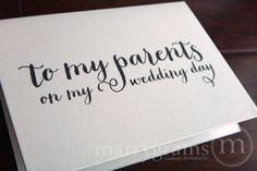 Wedding Card to Your Mother or Father -- Parents of the Bride or Groom Cards - Parent Wedding Gift Card. More options available for your family!
