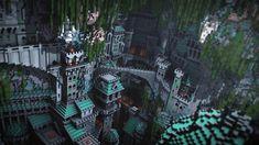 Minecraft Epic Builds, Minecraft Houses Blueprints, How To Play Minecraft, Minecraft Crafts, Minecraft Designs, Minecraft Stuff, Minecraft Underground, Underground Caves, Cave City