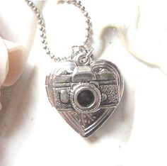 Camera Heart Locket Charm Necklace by NineMuseJewelry on Etsy, $12.00