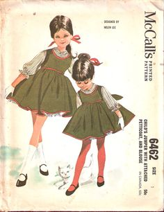 Childs-jumper-with-attached ~ Helen Lee sewing pattern Childrens Sewing Patterns, Kids Patterns, Mccalls Patterns, Clothing Patterns, Moda Vintage, Vintage Girls, Vintage Children, Vintage Dress Patterns, Vintage Dresses