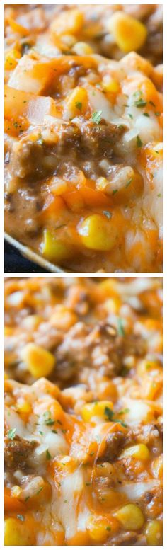 Cheesy Tomato Ground Beef and Rice ~ An easy stove top dinner recipe that can be on the table in less than thirty minutes.