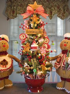 Sweets, Gingerbread Men, Cupcakes, Popcorn Garland - Kitchen Tree in Red Colander
