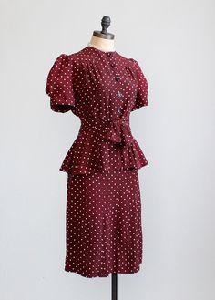 Vintage Late 1930s Polka Dot Peplum Suit