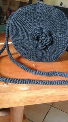 borsa in cotone con fiore centrale