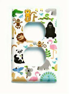 Safari Nursery Decorative Jungle Electrical Outlet Cover Baby Animals Elephant Monkey Pink Flamingo Room Decor B3 (MTO)