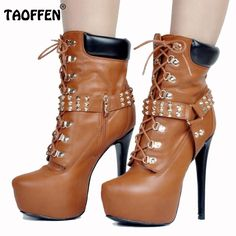 64.99$  Buy now - http://alibf3.worldwells.pw/go.php?t=32732976301 - New Fashion Women Platform Thin High Heel Ankle Boots Ladies Lace Up Martin Boot Brand Quality Heeled Shoes Footwear Size 34-47