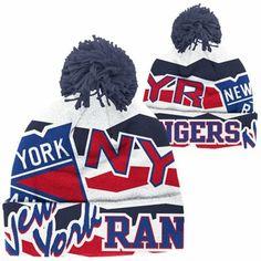 Reebok New York Rangers Cuffed Knit Beanie with Pom - White faad7d83138