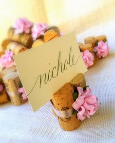 Blush Pink Wedding Place Card Holders Set Of 10 Wine Corks For Reception Or Bridal