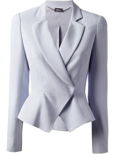 Light blue silk blend blazer from Alexander McQueen featuring notched lapels, a front button fastening, long sleeves, button cuffs and an asymmetric hem to the… Light Blue Blazers, Mein Style, Rocker, Career Wear, Rock Chic, Professional Outfits, Work Wardrobe, Work Attire, Jane Austen