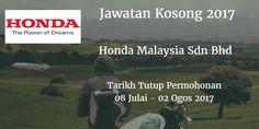 Jawatan Kosong Honda Malaysia Sdn Bhd 08 Julai - 02 Ogos 2017  Honda Malaysia Sdn Bhd calon-calon yang sesuai untuk mengisi kekosongan jawatan Honda Malaysia Sdn Bhd terkini 2017.  Jawatan Kosong Honda Malaysia Sdn Bhd 08 Julai - 02 Ogos 2017  Warganegara Malaysia yang berminat bekerja di Honda Malaysia Sdn Bhddan berkelayakan dipelawa untuk memohon sekarang juga. Jawatan Kosong Honda Malaysia Sdn Bhd Terkini 08 Julai - 02 Ogos 2017: 1. IT Executive (SAP ABAP Developer - Contract Position)…