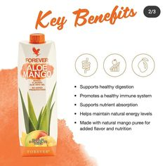 Mango Drinks, Yummy Drinks, Forever Aloe, Mango Puree, Nutrition Drinks, Forever Living Products, Natural Energy, Aloe Vera Gel, Energy Level