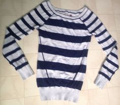 Women's SO Navy Blue Gray Striped Long Sleeve Knit Sweater Top Shirt | Size XS #SO #PullOver