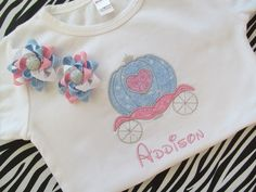 Disney Vacation-Princess Carriage Shirt with Matching Pigtail Bows. $26.50, via Etsy.