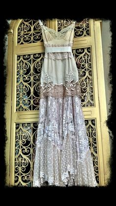 I'm thinking one vintage slip and one boho lace dress/skirt and I'm living in my own fairy tale. Vintage Slip, Mode Vintage, Vintage Dress, Upcycled Vintage, Vintage Style, Vintage Bohemian, Vintage Lingerie, Bohemian Mode, Bohemian Style