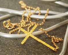 Gold Hammered Cross Necklace