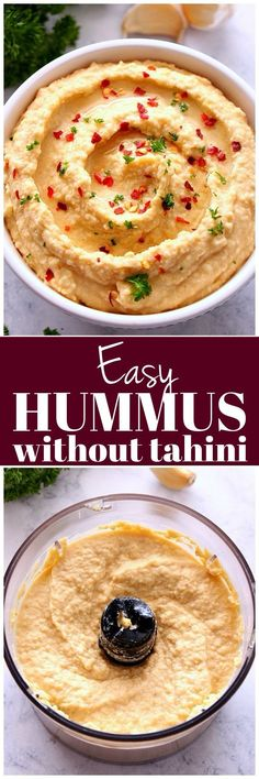 Easy Hummus without Tahini - simple recipe for hummus made with just a few ingredients and no tahini. So much better than store-bought stuff. Simple recipe for hummus made with just a few ingredients and no tahini. So much better than store-bought stuff. Easy Healthy Recipes, Healthy Snacks, Vegetarian Recipes, Easy Meals, Cooking Recipes, Vegetable Recipes, My Favorite Food, Favorite Recipes, Healthy Afternoon Snacks