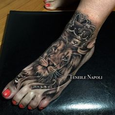Every queen needs her King. Beautiful #Lion foot tattoo by @Teneile_Napoli of…