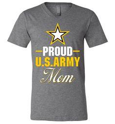 Proud U.S. Army Mom Canvas Unisex V-Neck T-Shirt