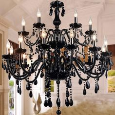 BYB® Crystal Chandelier Chandeliers Lighting Ceiling Fixture Pendant Lamp, D90*H80, 2 Tire, 12+6 Lights, Black Color, Free Shipping, LQ6601-12+6
