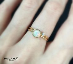 Opal Ring 14k 5mm Solid Gold . Opal Stacking Ring . by Polamai
