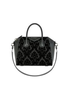 Givenchy - Small Antigona Bag in Devore Black Velvet and Leather Fall  Accessories, Leather Accessories bf22c41635