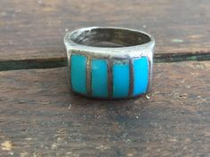 Vintage Navajo Native American Sterling Silver Turquoise Lucky Horseshoe Ring by Holliezhobbiez on Etsy
