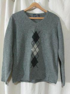 Gap Gray Argyle 100% Lambswool V Neck Sweater Medium Excellent #GAP #VNeck