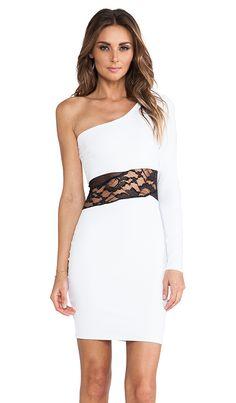 Donna Mizani One Shoulder Mini Dress in Bright White