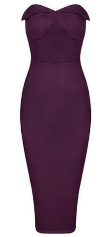 Sophia Purple Suedette Strapless Dress