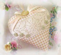 Heart Door Hanger Pillow 7 inch Golden Tan Check by CharlotteStyle