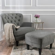 Tafton Tufted Fabric Club Chair with Ottoman by Christopher Knight Home (Grey), Gray
