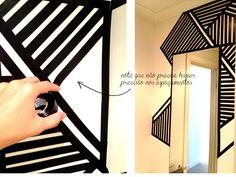 Eis que renasce um lavabo - fita isolante na parede #tape #art #wall #homedecor #DIY
