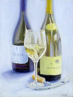 Wine testing - still life painting - original painting by MissGardaART on Etsy