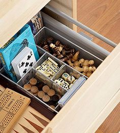 Game Organization  Drawer organizers do more than organize your desk -- they're perfect for keeping game pieces separated. Keep chess pieces, checkers, and dominos separate and you'll never have to throw away a game because of missing pieces again.
