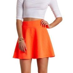 $18, Charlotte Russe Neon Geo Quilted Skater Skirt By Neon Coral. Sold by Charlotte Russe. Click for more info: https://lookastic.com/women/shop_items/75564/redirect