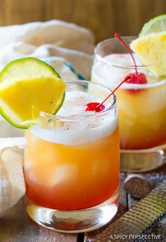 Drunken Monkey Cocktail - a vibrant fruity tiki drink just like we experienced in the Caribbean. Made with two types of rum, pineapple, orange, nutmeg and