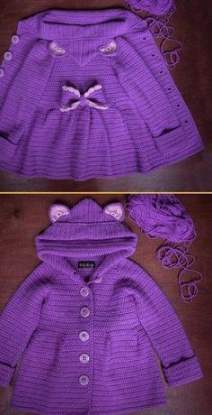 crochet baby girl Crochet Baby Ruffled Cardigan Coat - Free Pattern - Ruffled Cardigan CoatThis crochet pattern / tutorial is available for free. Crochet Baby Cardigan Free Pattern, Crochet Baby Blanket Beginner, Crochet Baby Jacket, Baby Sweater Patterns, Crochet Ruffle, Knitted Baby Cardigan, Crochet Coat, Baby Knitting, Crochet Pattern
