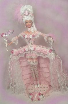 Barbie Marie Antoinette Victorian Rose Cameo Pink Gown Doll Altered OOAK PASSION