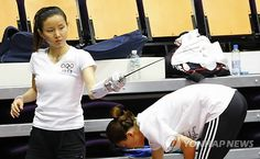 Team Korea Olympic training camp at Brunel University in July 2012 - Fencer Nam Hyeon-Hui taking a break from training in the Antonin Artaud arts building. Google Image Result for http://img.yonhapnews.co.kr/photo/yna/YH/2012/07/22/PYH2012072206000001300_P2.jpg