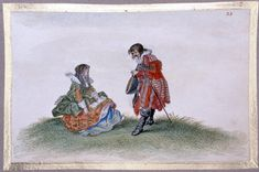 A lady with a songbook and a gentleman with a lute, from an album of 102 drawings; she is seated on the ground at left and he is standing before her, doffing his hat Watercolour with bodycolour, over black chalk, heightened with silver and gold