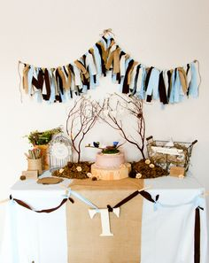 Blue, Brown and Burlap Fabric Scrap Garland for Rustic Baby Shower, Birthday or Nursery Decor. $45.00, via Etsy.