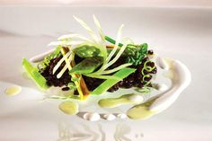 Lightly toasted black rice with green vegetables and Brazil nut milk.