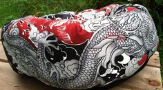 Fong Ming Kong Tatsu Pet Bed Dog Cat Dragons Luck  Japanese Asian Pet Supplies Round Gifts for Pets Oriental Lotus by GroupOneDogGallery on Etsy