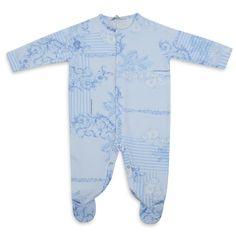 98394d39e3a3 YOUNG VERSACE baby boys blue baroque print baby grow Baby Grows